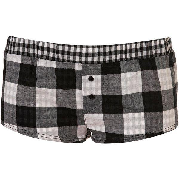 Premium Black Gingham Girl Boxer Short ($12) ❤ liked on Polyvore