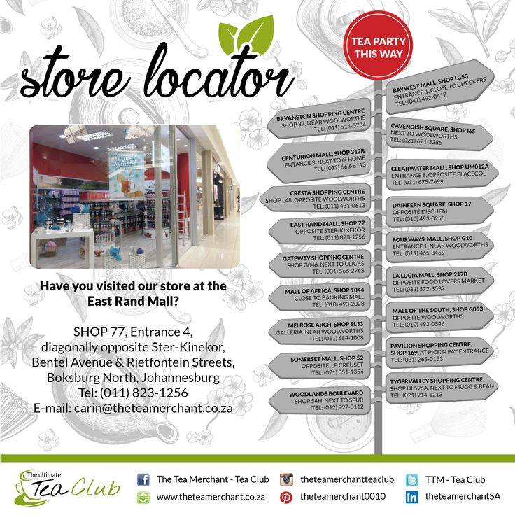 Did you know we have stores country wide? Please see which store is nearest to you for the ultimate tea experience