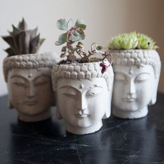Buddha Head Planter by brooklynglobal on Etsy, $17.00