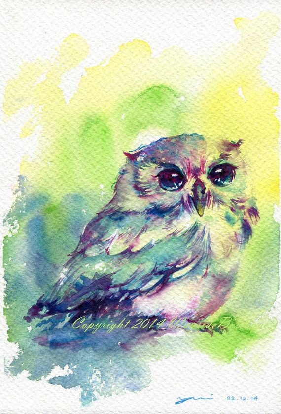 The Owl - ORIGINAL watercolor painting 7.5x11 inches    Signed and year - by me, the artist    Watercolors are professional high quality from