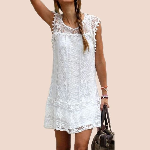 2016 Sexy Womens Summer Casual Sleeveless Evening Party Beach Dress Short Lace Tassel Mini Dress Vestidos Plus Size New Arrival  US $9.43 /piece  To Buy or Clayey Other Models Click On This Link  http://goo.gl/OCfUcW