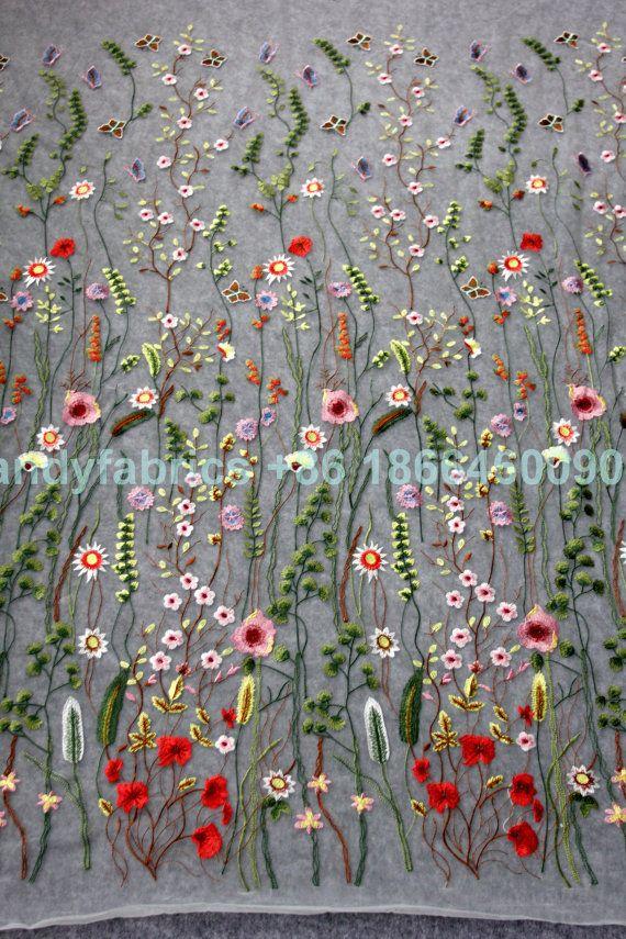 Nieuwe mode Toon voorjaar gemengde kleuren bloemen op verrekening van geborduurde jurk lace weefsel door yard