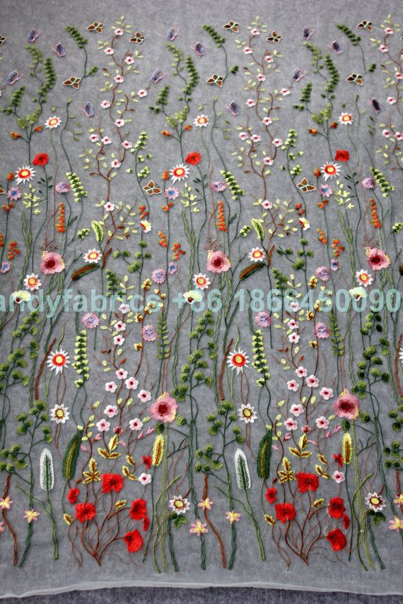New fashion show spring mixed colors flowers on netting embroidered  dress lace fabric by yard