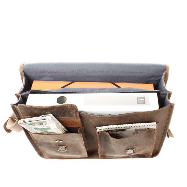 LECONI große Aktentasche Lehrertasche Businesstasche Leder braun LE3030
