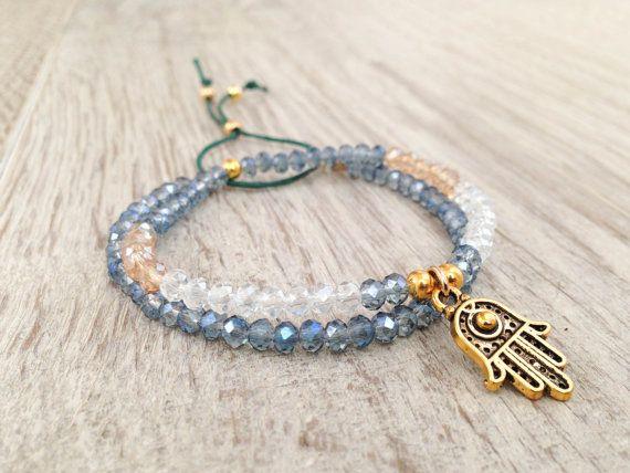 Hamsa bracelet set Bracelet stack blue and gold by Olive1990, €16.50