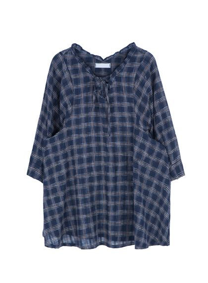 Drawstring Neck Loose Check Dress | MIX X MIX | Shop Korean fashion casual style clothing, bag, shoes, acc and jewelry for all