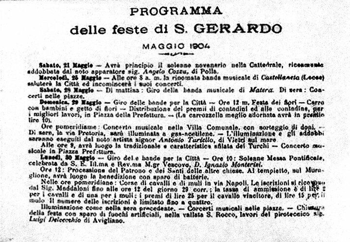il programma del 1904 della festa del Santo Patrono