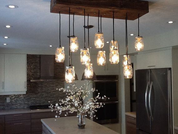 Reclaimed Wood Mason Jar Chandelier