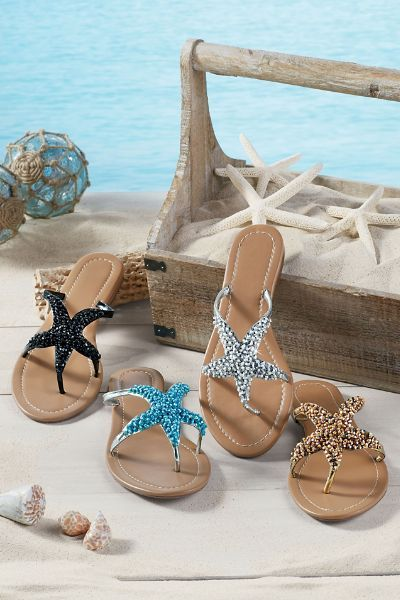 Sealife Sandal - Beaded Thong Sandal, Best Sandal For Summer, Starfish Sandal | Soft Surroundings