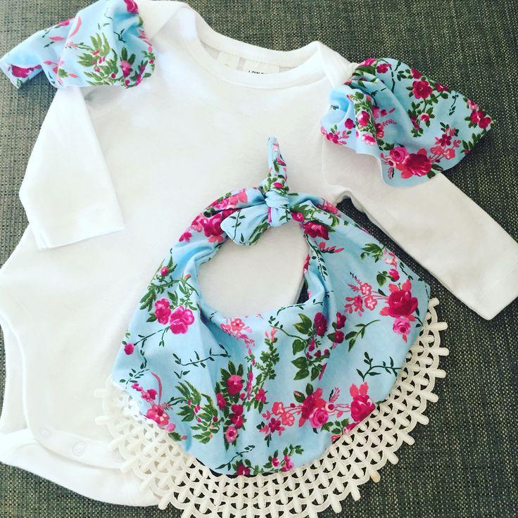 Handmade frill bib with matching flutter sleeve onesie