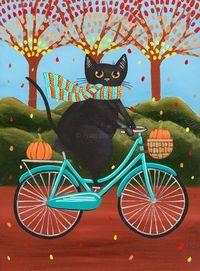 Autumn Fat Black Cat on a Bicycle Original Folk Art Painting