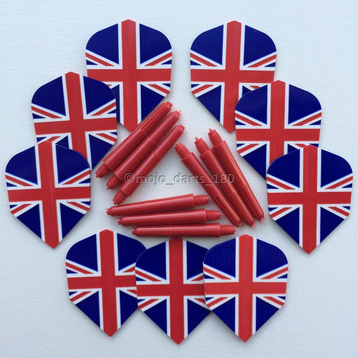 UNION JACK Dart Flights and Shafts Kit SHORT STEMS Red White Blue BRITAIN GB