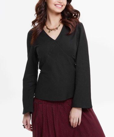 Black Tie-Back V-Neck Top #zulily #zulilyfinds