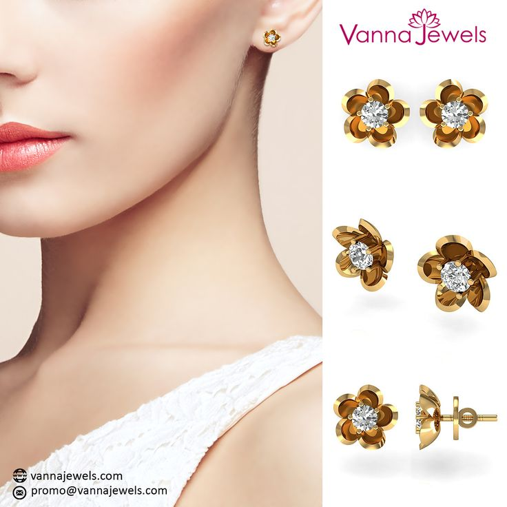 Vannajewels Collection SGL Certified Diamond Solitaire Floral Stud Earrings Designer Fine Women's Jewelry Set in Solid 18k Yellow Gold