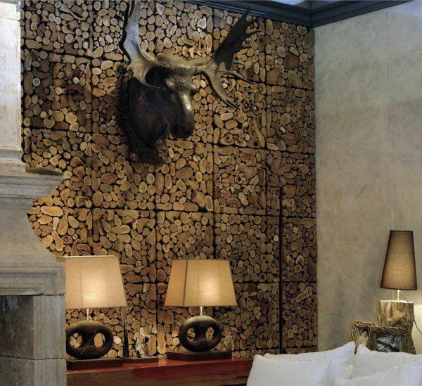 Living room with wood log wall. Fashion Decor Tips. http://www.kenisahome.com