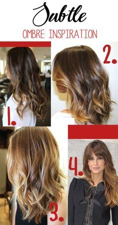 Subtle ombre inspiration. Caramel, light brown ombre highlights give a natural look.   best stuff