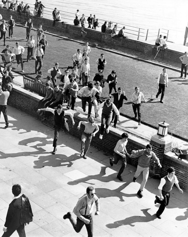Hard Mods and early Skinheads on the beach front at Brighton, UK1969 by David McEnery (Rex Features)