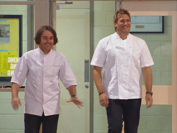 MasterChef family members Shannon Bennett and Curtis Stone visit their old high school where they both studied home economics.