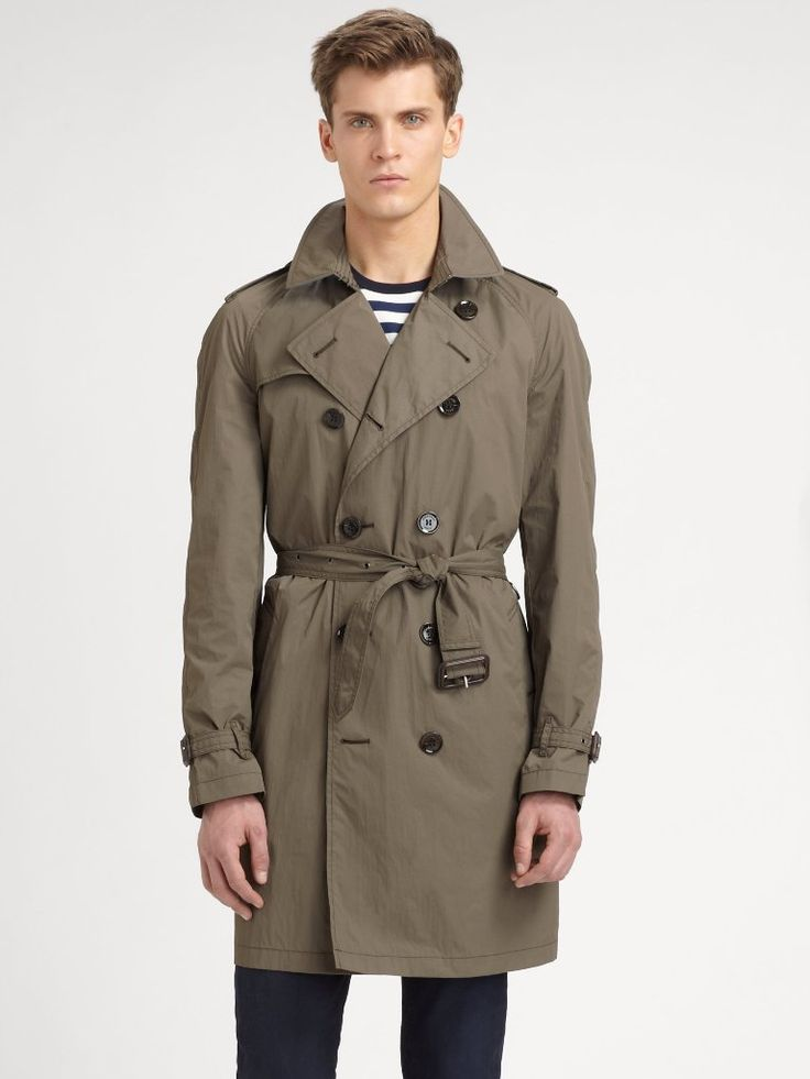 Burberry Brit Olive Doublebreasted Trenchcoat | Fashideas.com