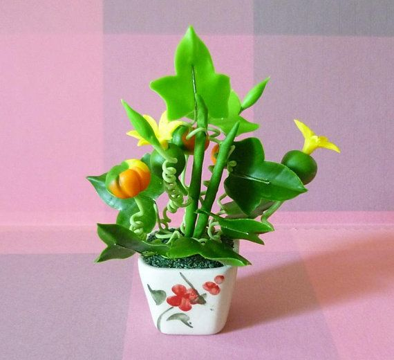 Coconut Tree Clay Flower  Dollhouse Miniature collection Decor
