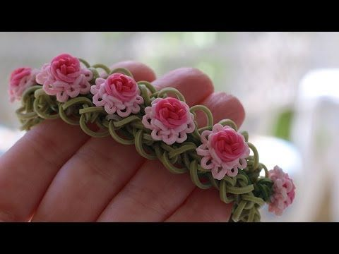Rainbow Loom RUFFLES and ROSES Bracelet. Designed and loomed by YarnJourney. Click photo for YouTube tutorial. 06/24/14.