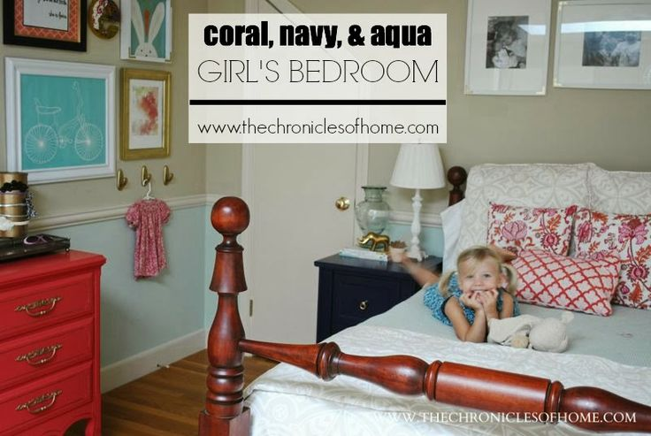 Aqua, Navy, and Coral Girl's Bedroom