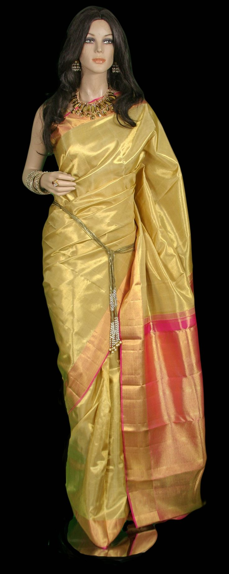Brilliant Gold Tissue Kanjeevaram Bridal Saree