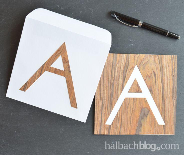Halbachblog I DIY Idee: Karten basteln mit selbstklebendem Holzfurnier-Soff I Typo Design I Buchstabe I Initial I Holzfurnier I wood veneer fabric I selber machen I DIY Projekt I Holz I natural look