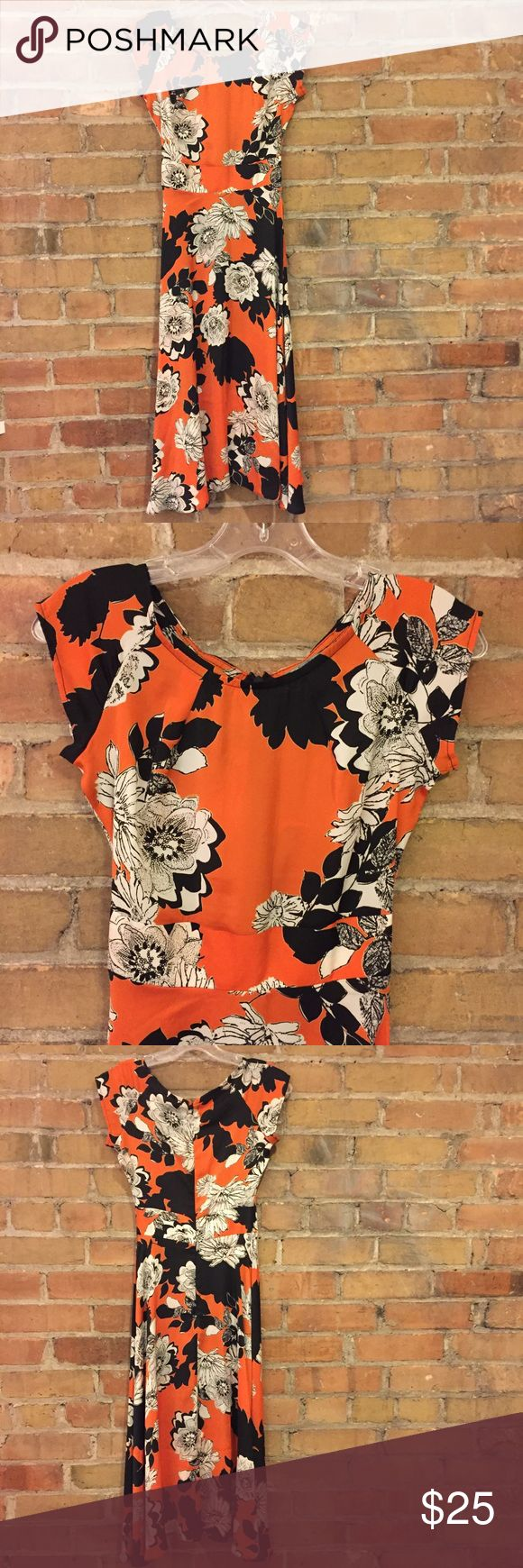 """ASOS """"Love Midi Skater Dress in Mono Floral Print"""" Super cute, lightweight, & floaty! Measurements (taken flat!) are: 15"""" armpit to armpit along back, 13"""" from shoulder to top waistband seam or 15"""" to bottom seam, 12"""" waist with no give, 44"""" total length from shoulder to hem. If I could wear this without having to remove two ribs, I'd keep it for sure. But that waist measurement is no joke. If you have a 26"""" waist like me, good luck breathing, 25"""" you're prob ok all day except after lunch…"""
