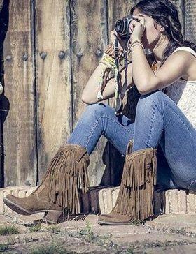Botas de flecos altas cowboy
