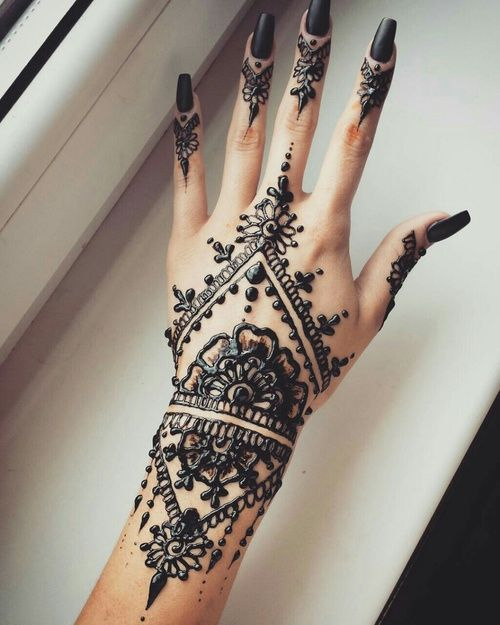 floral black henna design                                                                                                                                                     More