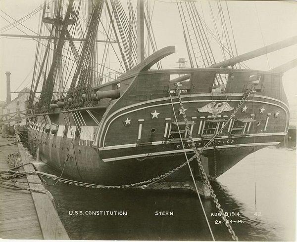 USS Constitution, stern, circa August 18, 1914