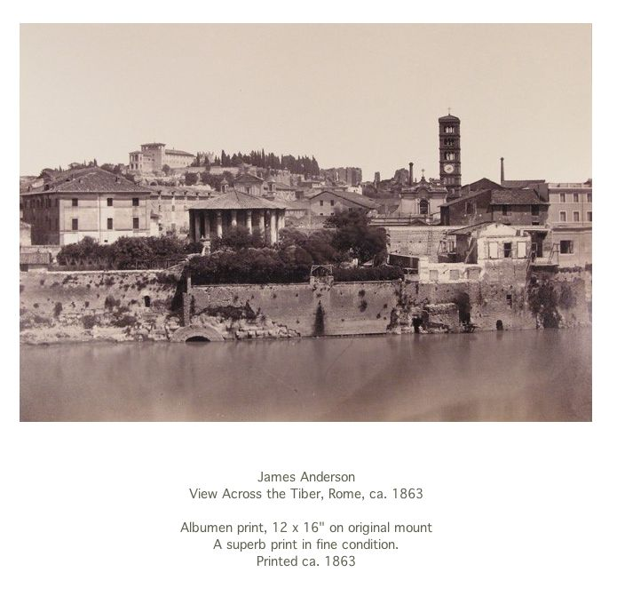 "View Across the Tiber, Rome, ca. 1863 Albumen print, 12 x 16"""
