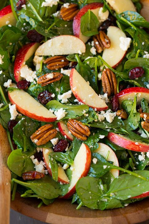Apple Pecan Feta Spinach Salad with Maple Cider Vinaigrette: To really amp up the fall flavors of this salad, add a good amount of maple cider vinaigrette.
