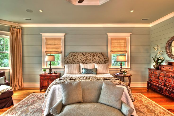 Shiplap Traditional Bedroom Decorating Ideas Charleston Area Rug Crown Molding Gray Painted Walls Nightstand Roman Shades Silk Tongue And Groove