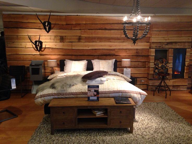 Slaapkamer in blokhut stijl