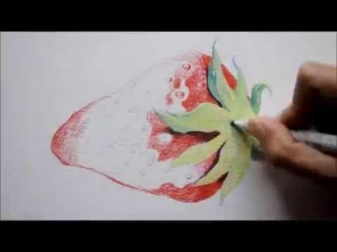 CROC'TUTO N° 7 : Dessiner une fraise - exercice aux trois crayons de couleur - YouTube