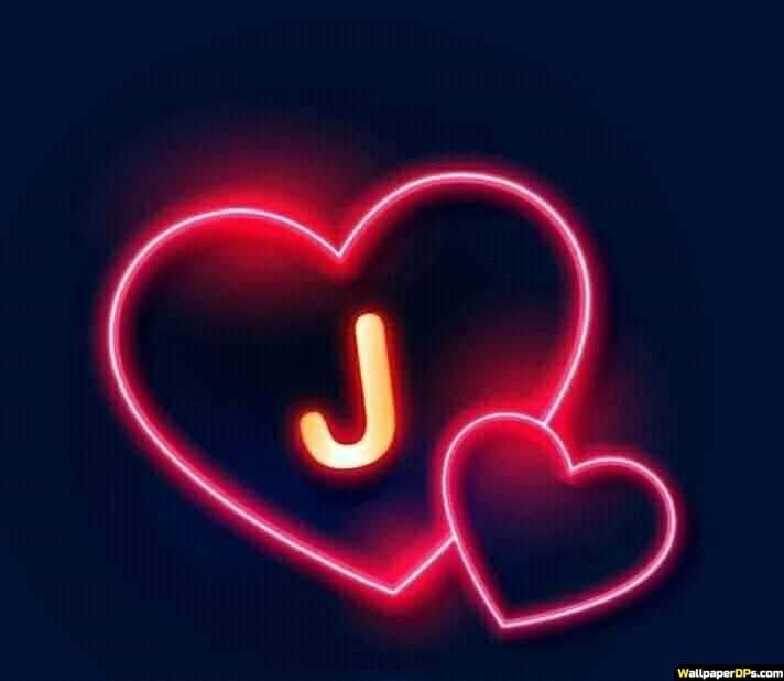 J Name Dp Pics For Whatapp N Facebook With Neon Light Heart Black Background J Names Black Background Wallpaper My Name Wallpaper