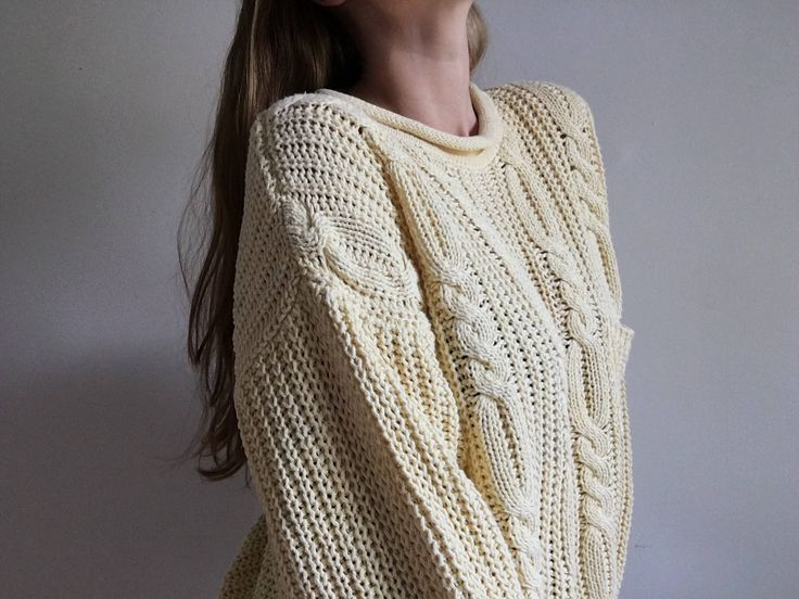 Vintage Slouchy Cableknit Sweater // Vintage 80's Boxy Knit Pullover http://etsy.me/2jHgNLC #clothing #women #jumper #yellow #knit #cableknit #sweater #pullover #cotton