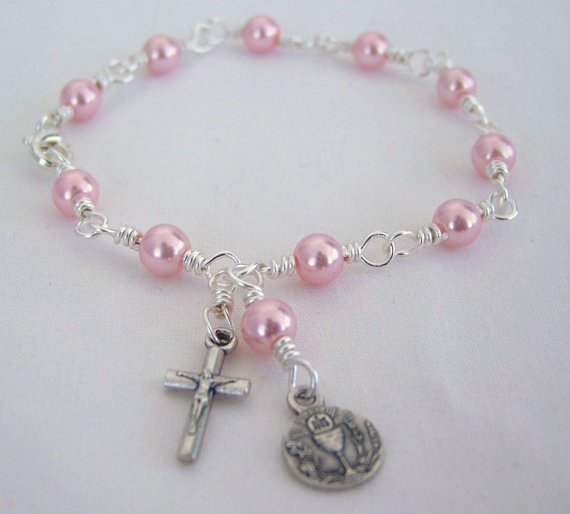Pink Pearl Holy Communion Rosary Bracelet by HopeFaithAndBeads, $13.99