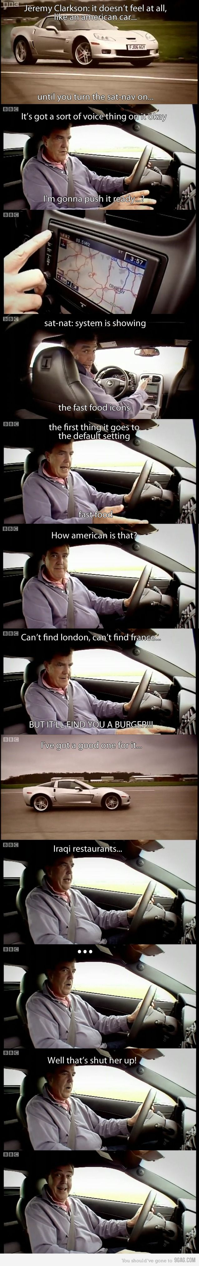 top gear! It's especially funny if you watch he show and can hear his voice as you read it.