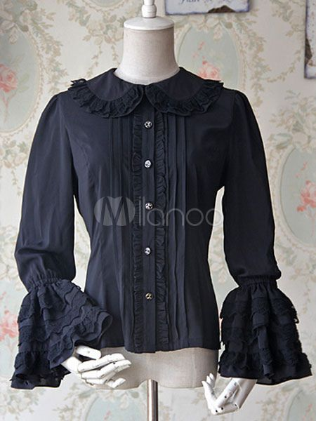 13e040fa322dc White Lolita Blouse Bell Sleeves Chiffon Lace Shirt for Women  Blouse