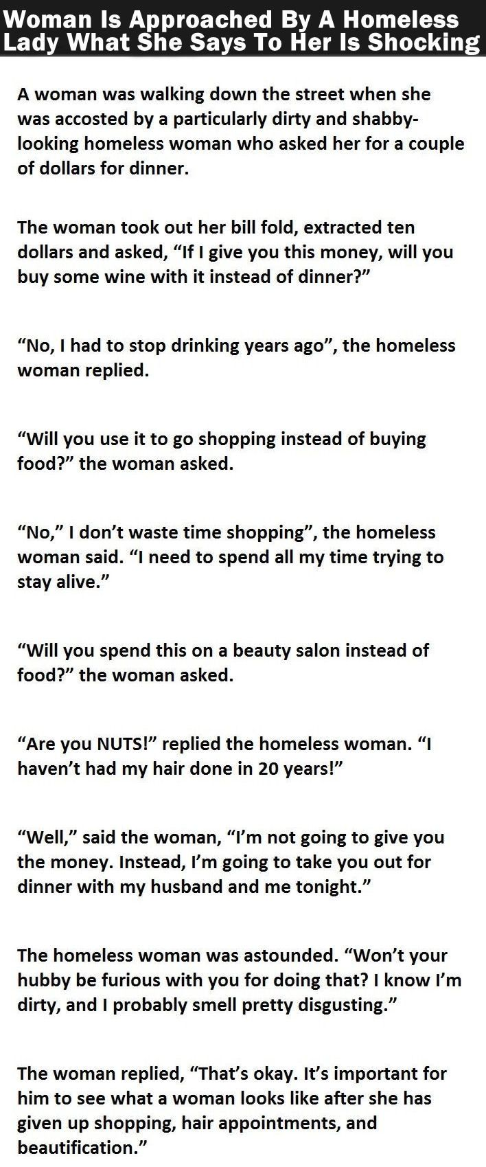 Woman Is Approached By A Homeless Lady What She Says To Her Is Shocking funny jokes story lol funny quote funny quotes funny sayings joke hilarious humor stories marriage humor funny jokes