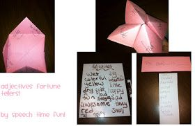 Speech Time Fun: Adjectives Fortune Tellers