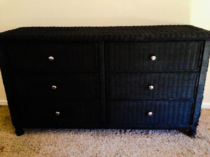 Wicker dresser repainted (sprayed) $30 total (20 dresser, 10 for knobs and spray paint) What a steal!