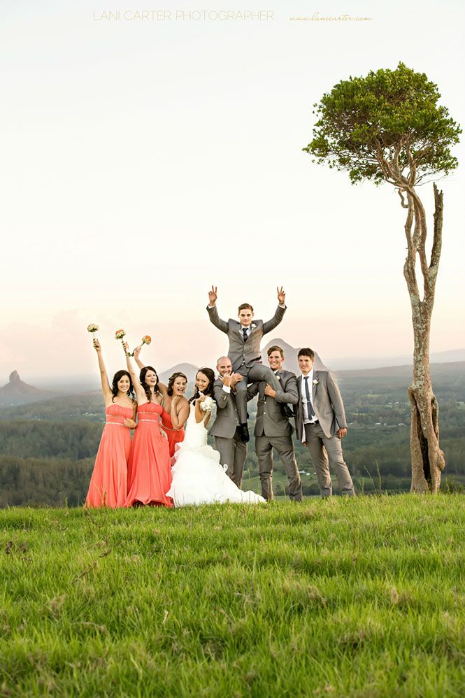 Bridal party at one tree hill Maleny. www.lanicarter.com