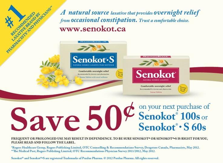 SENOKOT Senokot 100s or Senokot • S 60s economisez 50 cents.