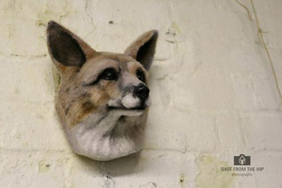 Faux Taxidermy Fox Head Animal Friendly  Decorative Art Handmade in Wales, Great Britain with eco materials Life Size
