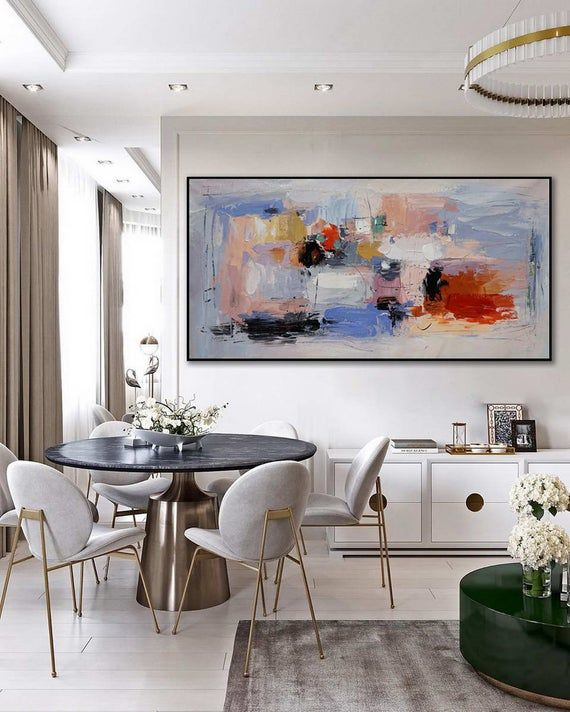 Large Abstract Wall Art Hand Painted Acrylic Palette Knife Etsy