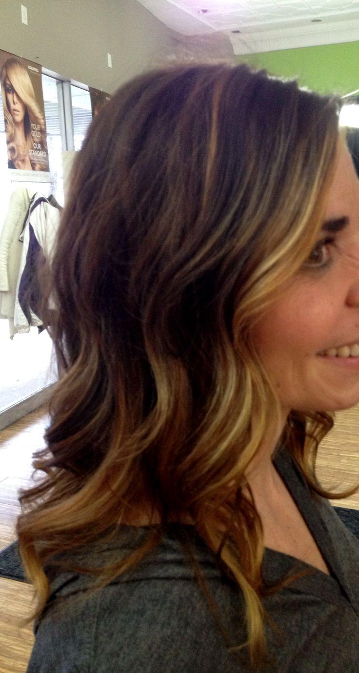 Dark brown hair sombre' balayage high lights